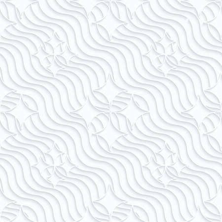 pointy: Quilling white paper pointy diamonds on waves.White geometric background. Seamless pattern. 3d cut out of paper effect with realistic shadow.