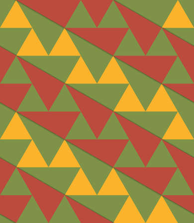 thee: Retro 3D green yellow brown diagonal triangles.Abstract layered pattern. Bright colored background with realistic shadow and thee dimensional effect. Illustration