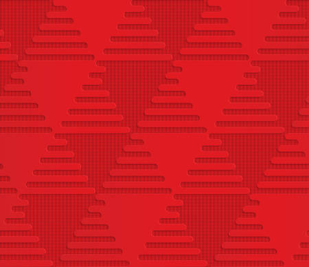 Red triangles on checkered background.Seamless geometric background. 3D layered and textured pattern with realistic shadow and cut out effect. Banco de Imagens - 46324513