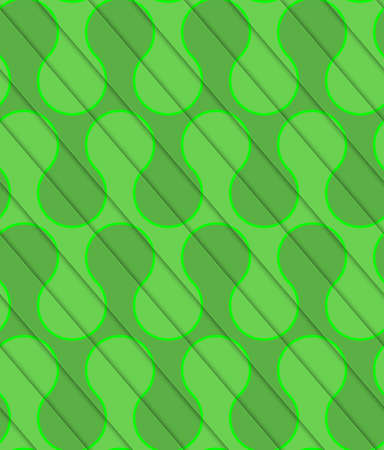 thee: Retro 3D diagonal cut green waves.Abstract layered pattern. Bright colored background with realistic shadow and thee dimensional effect. Illustration