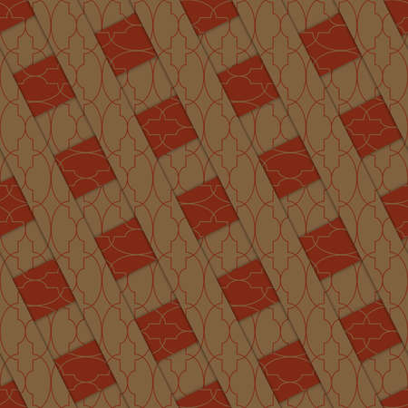 thee: Retro 3D brown stripes crossed.Abstract layered pattern. Bright colored background with realistic shadow and thee dimensional effect. Illustration