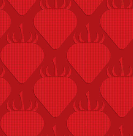 tillable: Red checkered strawberries.Seamless geometric background. 3D layered and textured pattern with realistic shadow and cut out effect. Illustration