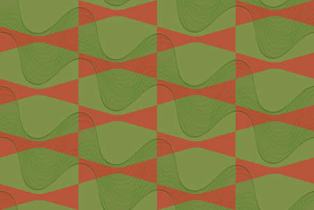 thee: Retro 3D brown and green wavy.Abstract layered pattern. Bright colored background with realistic shadow and thee dimensional effect.