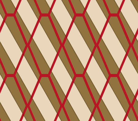 thee: Retro 3D brown and red diamond net.Abstract layered pattern. Bright colored background with realistic shadow and thee dimensional effect.