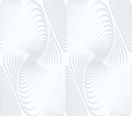 perforated: Quilling white paper swirled offset diamonds.White geometric background. Seamless pattern. 3d cut out of paper effect with realistic shadow. Illustration