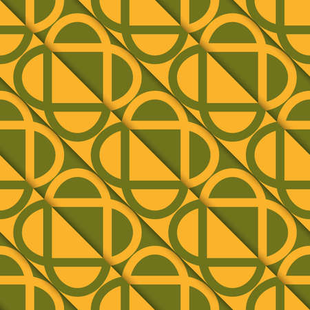 diagonally: Retro 3D green and orange diagonally cut intersecting ovals.Abstract layered pattern. Bright colored background with realistic shadow and thee dimensional effect.