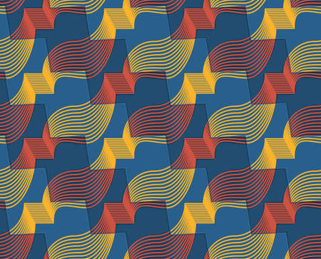 thee: Retro 3D red yellow and blue zigzag cut ribbons.Abstract layered pattern. Bright colored background with realistic shadow and thee dimensional effect.