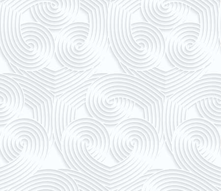 Quilling white paper overlapping striped hearts.White geometric background. Seamless pattern. 3d cut out of paper effect with realistic shadow.