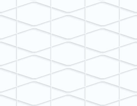 Quilling white paper squished hexagons and triangles.White geometric background. Seamless pattern. 3d cut out of paper effect with realistic shadow.