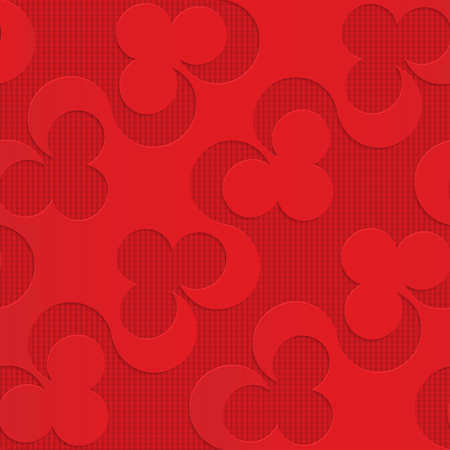 perforated: Red diagonal clubs on checkered background.Seamless geometric background. 3D layered and textured pattern with realistic shadow and cut out effect.