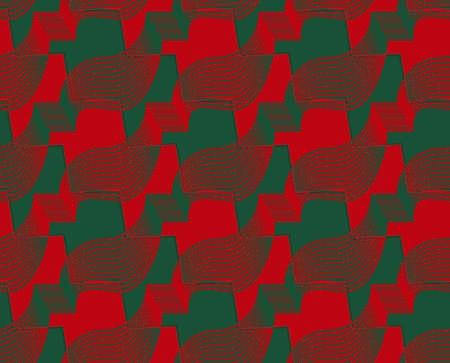 thee: Retro 3D red and green zigzag cut ribbons.Abstract layered pattern. Bright colored background with realistic shadow and thee dimensional effect. Illustration