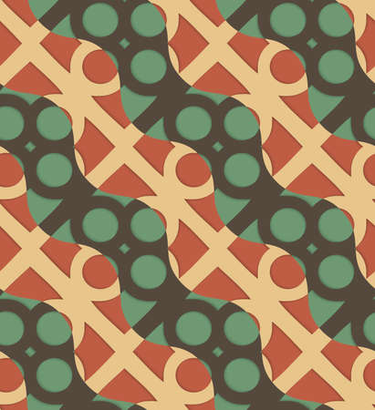 thee: Retro 3D green and brown waves and circles.Abstract layered pattern. Bright colored background with realistic shadow and thee dimensional effect.