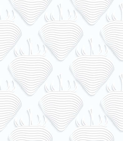 Quilling white paper striped strawberries.White geometric background. Seamless pattern. 3d cut out of paper effect with realistic shadow. Ilustração
