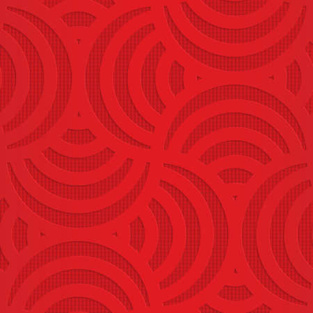 arcs: Red turning arcs on checkered background.Seamless geometric background. 3D layered and textured pattern with realistic shadow and cut out effect.