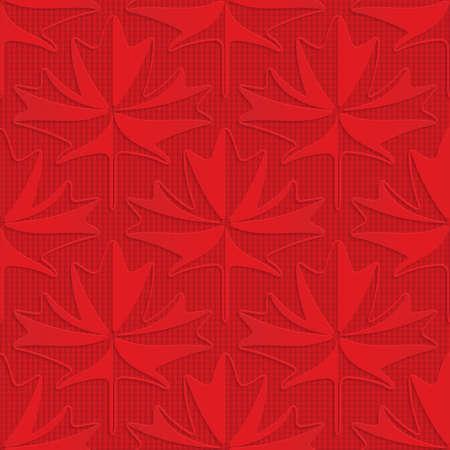 Feuilles d'érable rouge sur fond à carreaux. Fond géométrique transparent. Modèle en couches et texturé en 3D avec une ombre réaliste et un effet découpé. Banque d'images - 46325514