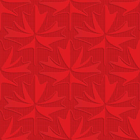 Red maple leaves on checkered background.Seamless geometric background. 3D layered and textured pattern with realistic shadow and cut out effect.