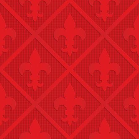 Fleur rouge de Lys sur fond quadrillé. Fond géométrique sans soudure. Modèle 3D en couches et texturé avec une ombre réaliste et un effet de découpe. Banque d'images - 46325513