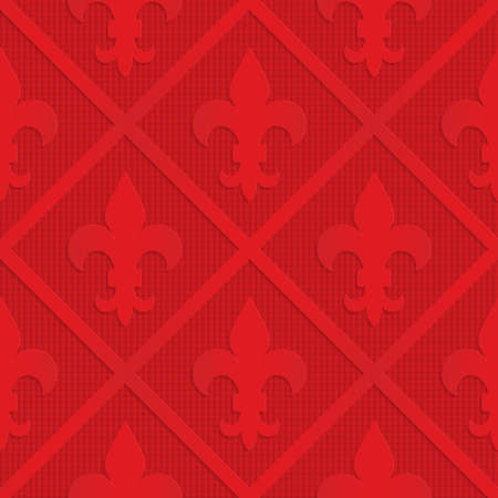 perforated: Red fleur de lis on checkered background.Seamless geometric background. 3D layered and textured pattern with realistic shadow and cut out effect.