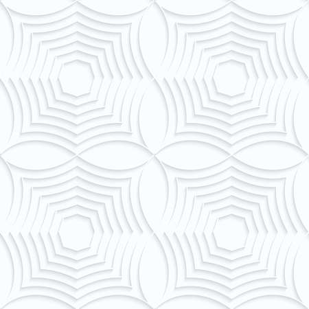 Quilling white paper striped spider webs in row.White geometric background. Seamless pattern. 3d cut out of paper effect with realistic shadow.
