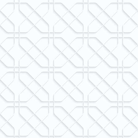 Quilling white paper intersecting rounded rectangles.White geometric background. Seamless pattern. 3d cut out of paper effect with realistic shadow. Illustration