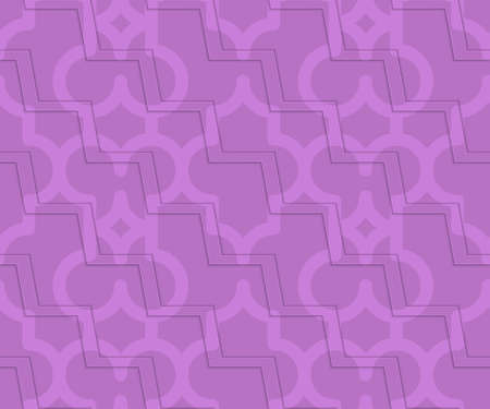 thee: Retro 3D purple zigzag cut Marrakech.Abstract layered pattern. Bright colored background with realistic shadow and thee dimensional effect.