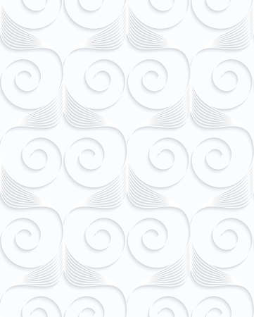 Quilling white paper stripes and spirals in row.White geometric background. Seamless pattern. 3d cut out of paper effect with realistic shadow. Illustration