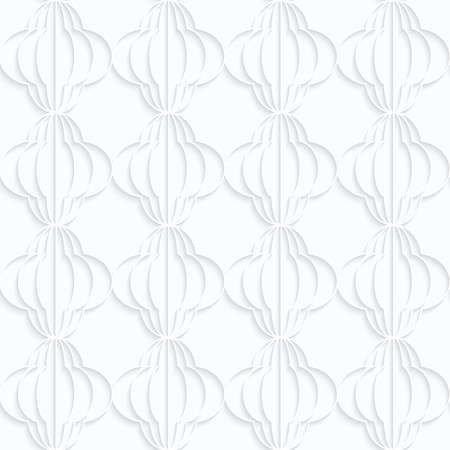 quilling: Quilling white paper striped bulbs in row.White geometric background. Seamless pattern. 3d cut out of paper effect with realistic shadow.