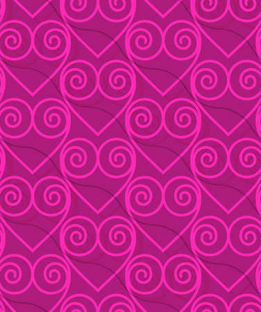 thee: Retro 3D deep pink swirly hearts.Abstract layered pattern. Bright colored background with realistic shadow and thee dimensional effect. Illustration
