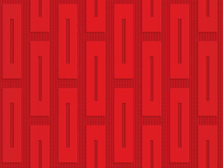 Red vertical rectangles on checkered background.Seamless geometric background. 3D layered and textured pattern with realistic shadow and cut out effect.