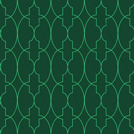 thee: Retro 3D green big oval Marrakech.Abstract layered pattern. Bright colored background with realistic shadow and thee dimensional effect. Illustration