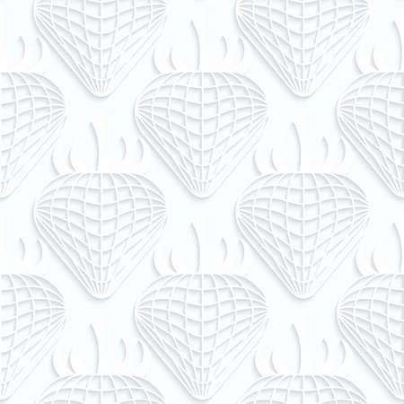 Quilling white paper checkered strawberries.White geometric background. Seamless pattern. 3d cut out of paper effect with realistic shadow.