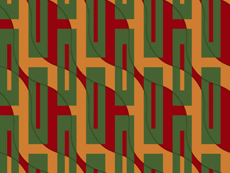 thee: Retro 3D orange and red wavy with green rectangles.Abstract layered pattern. Bright colored background with realistic shadow and thee dimensional effect. Illustration