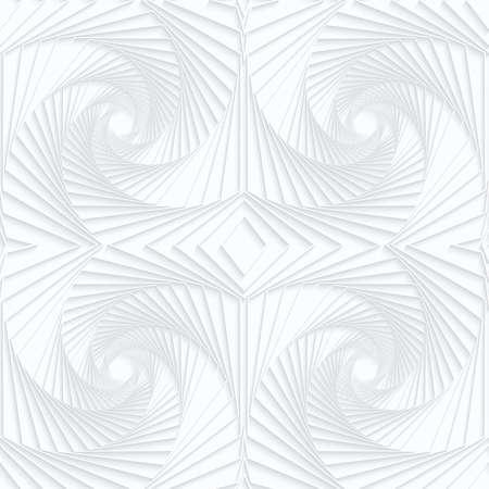 Papier blanc Quilling rayé fond géométrique swirls.White. Seamless. 3d découpé hors de l'effet de papier avec des ombres réalistes. Banque d'images - 46326243