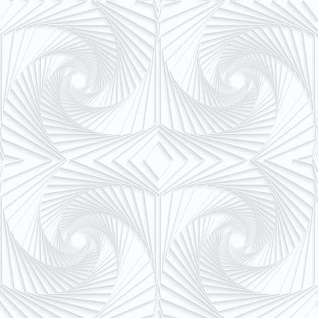 Quilling white paper striped swirls.White geometric background. Seamless pattern. 3d cut out of paper effect with realistic shadow. Illustration