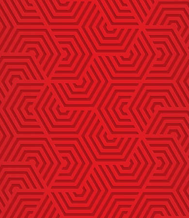 Red overlapping striped hexagons.Seamless geometric background. 3D layered and textured pattern with realistic shadow and cut out effect.