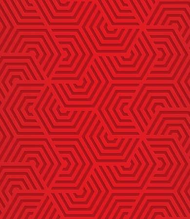 레드 중복 줄무늬 hexagons.Seamless 형상 배경입니다. 3D 계층화와 사실적인 그림자와 패턴 질감 효과를 잘라.
