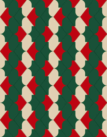 thee: Retro 3D red green and yellow zigzag.Abstract layered pattern. Bright colored background with realistic shadow and thee dimensional effect.