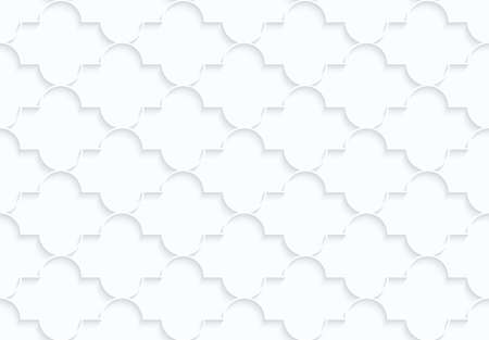 abstract wallpaper: Quilling white paper horizontal Marrakech.White geometric background. Seamless pattern. 3d cut out of paper effect with realistic shadow. Illustration