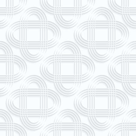 Quilling white paper striped intersecting ovals.White geometric background. Seamless pattern. 3d cut out of paper effect with realistic shadow.