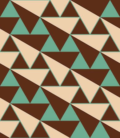 thee: Retro 3D green and brown diagonal triangles.Abstract layered pattern. Bright colored background with realistic shadow and thee dimensional effect.