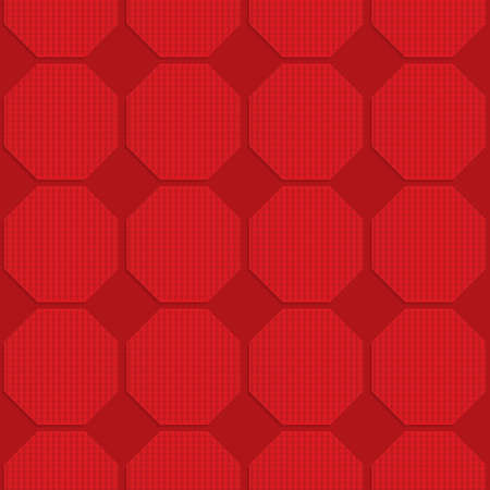 Red checkered octagons.Seamless geometric background. 3D layered and textured pattern with realistic shadow and cut out effect. Banco de Imagens - 46326443