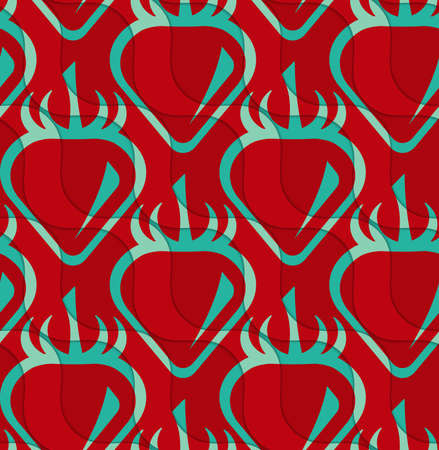 thee: Retro 3D red and green wavy cut strawberry.Abstract layered pattern. Bright colored background with realistic shadow and thee dimensional effect.