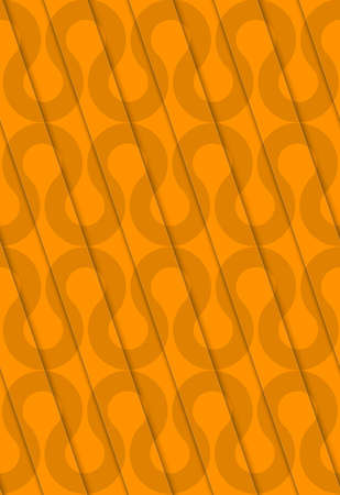 thee: Retro 3D diagonal cut orange waves.Abstract layered pattern. Bright colored background with realistic shadow and thee dimensional effect.
