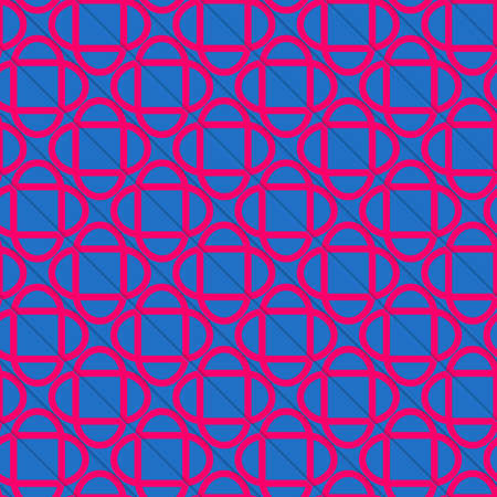 diagonally: Retro 3D blue and pink diagonally cut intersecting ovals.Abstract layered pattern. Bright colored background with realistic shadow and thee dimensional effect. Vectores