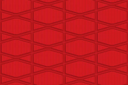 squashed: Red checkered squashed hexagons.Seamless geometric background. 3D layered and textured pattern with realistic shadow and cut out effect.