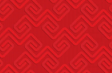 Red square fastening spirals on checkered background.Seamless geometric background. 3D layered and textured pattern with realistic shadow and cut out effect.