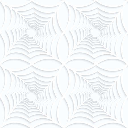 Quilling white paper twisted spider webs in row.White geometric background. Seamless pattern. 3d cut out of paper effect with realistic shadow. Illustration