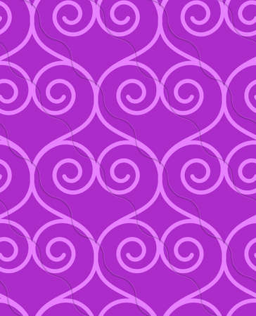 thee: Retro 3D purple swirly hearts.Abstract layered pattern. Bright colored background with realistic shadow and thee dimensional effect.