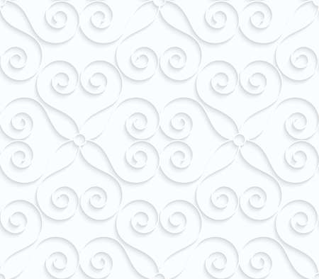 tillable: Quilling white paper hearts with swirls.White geometric background. Seamless pattern. 3d cut out of paper effect with realistic shadow. Illustration