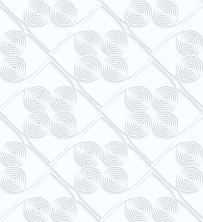 tillable: Quilling white paper circles with offset inside squares.White geometric background. Seamless pattern. 3d cut out of paper effect with realistic shadow.